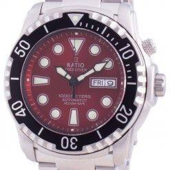 Ratio Free Diver Helium-Safe 1000M Sapphire Automatic 1068HA96-34VA-RED Men's Watch