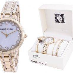 Anne Klein Swarovski Crystal Accented 3488GPST Quartz With Gift Set Women's Watch