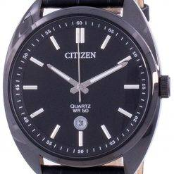 Citizen Black Dial Leather Strap Quartz BI5095-05E Men's Watch