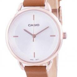 Casio Silver Dial Leather Strap Quartz LTP-E413PL-7A LTPE413PL-7A Women's Watch