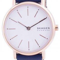 Skagen Signatur White Dial Blue Leather Strap Quartz SKW2838 Womens Watch