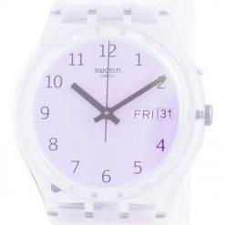 Swatch Ultrarose White Dial Silicone Strap Quartz GE714 Womens Watch