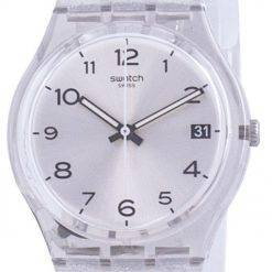 Swatch Silverblush Silver Dial Silicone Strap Quartz GM416C Mens Watch