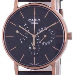 Casio Multi Hands Black Dial Leather Strap Quartz MTP-E320RL-1E MTPE320RL-1 Mens Watch
