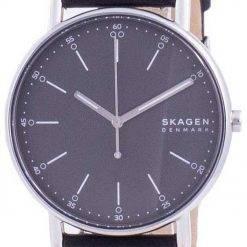 Skagen Signatur Grey Dial Leather Strap Quartz SKW6654 Mens Watch